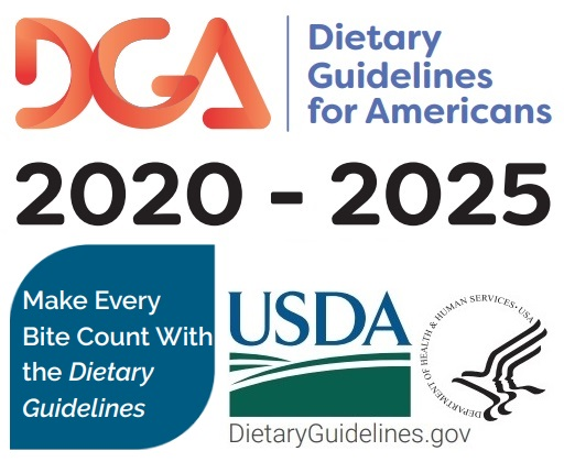 USDA Dietary Guidelines 2020 through 2025 button