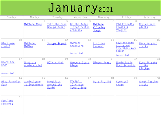 Nutrition Activities January 2021