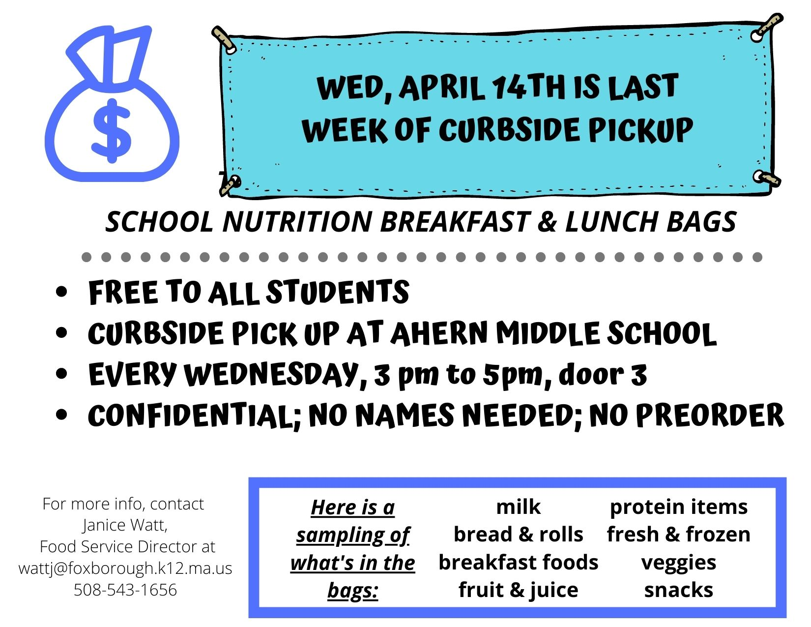 Copy of FREE TO ALL STUDENTS CURBSIDE PICK UP AT AHERN MIDDLE SCHOOL MONDAYS & THURSDAYS, 12-2 pm CONFIDENTIAL; NO NAMES NEEDED.jpg