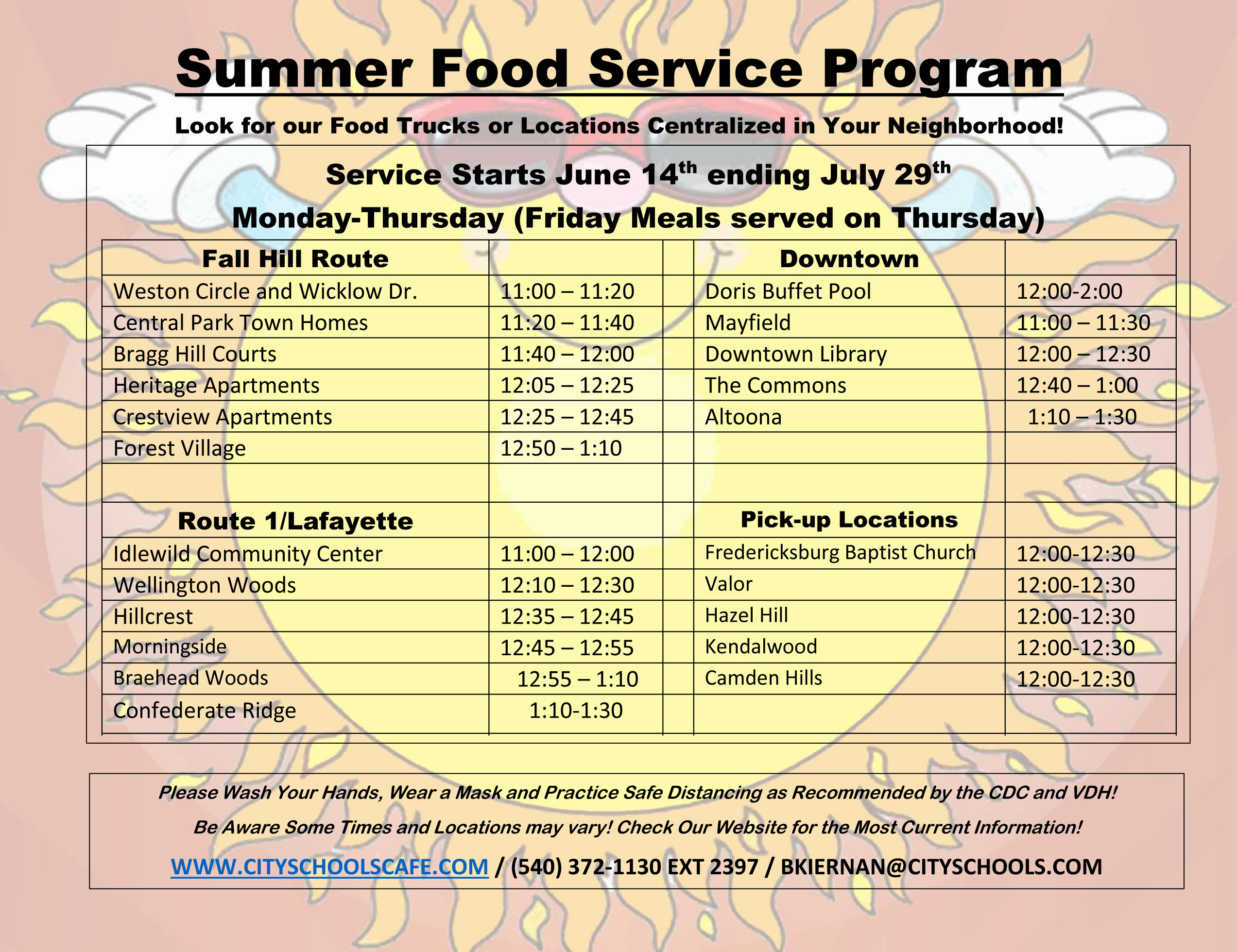 Times and Locations of Mobile Meal Program