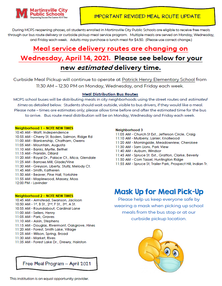 Meal Service Flyer - REVISED April 2021