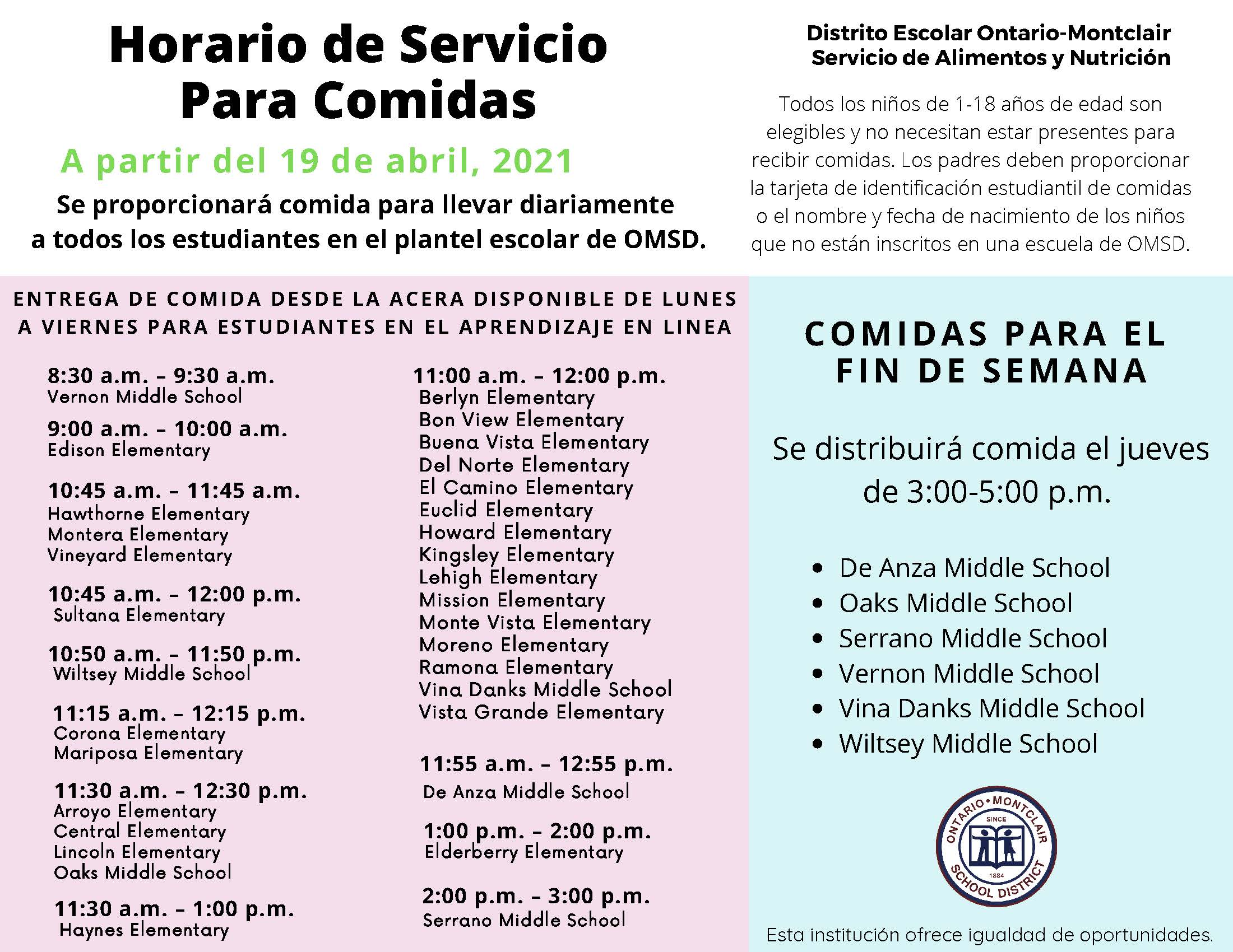 Meal Service for Hybrid Learning April 19 2021 Spanish.jpg