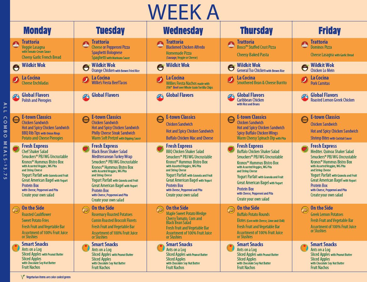 Lunch Week A 2014-15